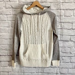 HYBA Colour Block Cable Knit Hoodie Gray White